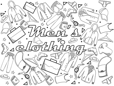 s tie: Men clothing coloring book line art design vector illustration. Separate objects. Hand drawn doodle design elements.