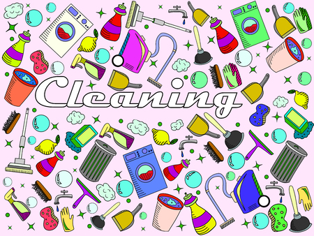 cleanup: Cleaning line art design vector illustration. Cleanup separate objects. Sweeping hand drawn doodle design elements. Illustration
