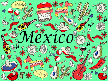 latinoamerica: Mexico line art design vector illustration. Separate objects. Hand drawn doodle design elements.