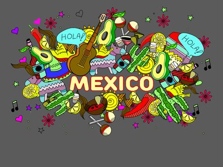 enchiladas: Mexico line art design vector illustration. Separate objects. Hand drawn doodle design elements.
