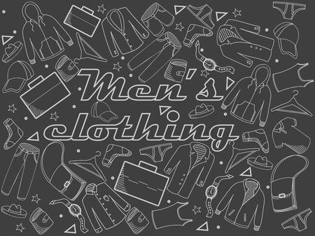 chalk line: Men clothing chalk line art design vector illustration. Separate objects. Hand drawn doodle design elements.