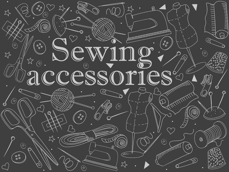 implement: Sewing accessories chalk line art design vector illustration. Implement separate objects. Hand drawn doodle design elements.
