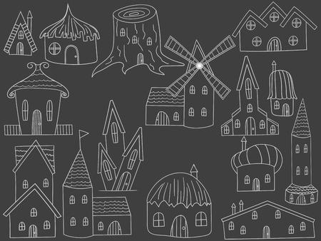 chalk line: House chalk line art design vector illustration. Housing separate objects. Habitation hand drawn doodle design elements. Illustration