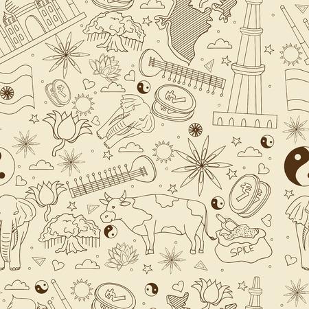 Illustration vectorielle de Inde rétro ligne transparente art design. Séparez les objets. Éléments de conception doodle dessinés à la main.