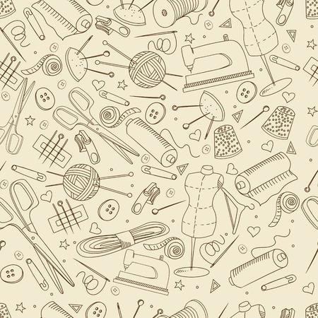 implement: Sewing accessories seamless retro line art design vector illustration. Implement separate objects. Hand drawn doodle design elements.