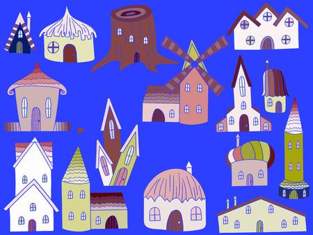 habitation: House line art design vector illustration. Housing separate objects. Habitation hand drawn doodle design elements.