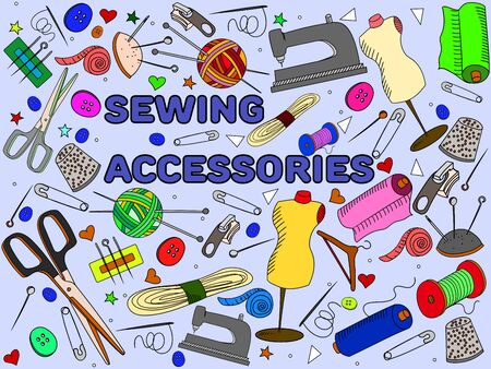 implement: Sewing accessories line art design vector illustration. Implement separate objects. Hand drawn doodle design elements.