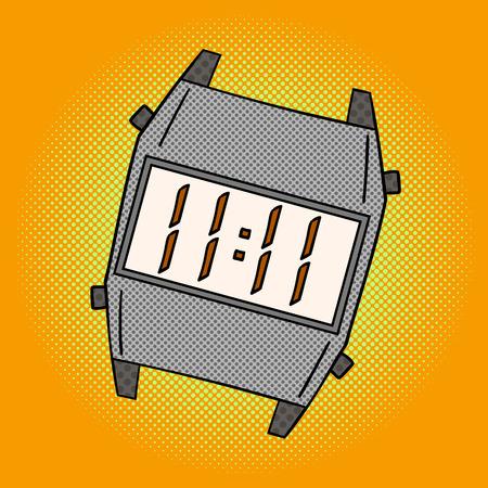 wristlet: Wristwatch pop art design vector illustration. Clock separate objects. Wristlet watch hand drawn doodle design elements. Illustration