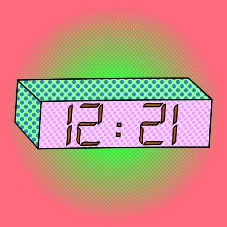 mantel: Digital watch pop art design vector illustration. Clock separate objects. Timer hand drawn doodle design elements.