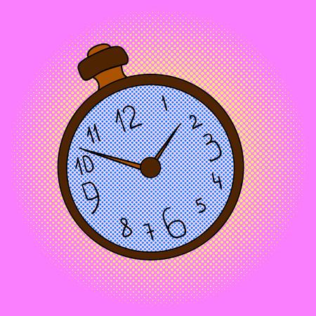 Pocket watches pop art design vector illustration. Clock separate objects. Timer hand drawn doodle design elements.  イラスト・ベクター素材