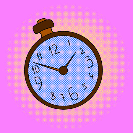 Pocket watches pop art design vector illustration. Clock separate objects. Timer hand drawn doodle design elements. Çizim