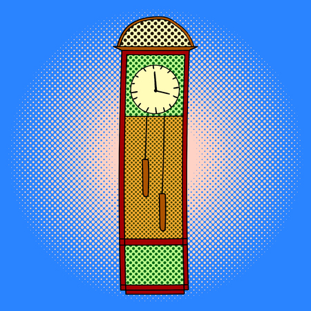 chimes: Chimes pop art design vector illustration. Tower clocks separate objects. Timer hand drawn doodle design elements.