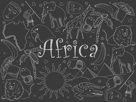 chalk line: Africa chalk line art design vector illustration. Separate objects. Hand drawn doodle design elements.