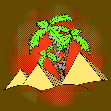postman of the desert: Egypt pyramids and palm trees pop art vector illustration