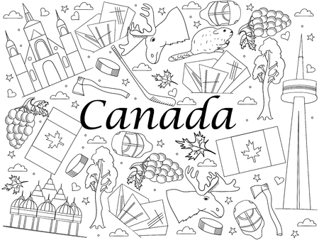 Símbolos Canadian Culture Conjunto De Elementos. Aislado ...