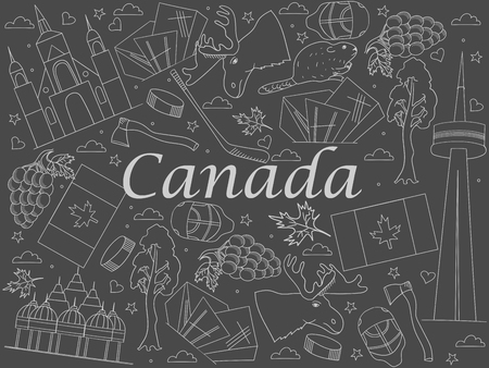 chapel: Canada chalk line art design vector illustration. Separate objects. Hand drawn doodle design elements.