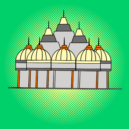 gurudwara: Shri Swaminarayan Mandir pop art vector. Beautiful adult looking at us, illustration isolated on white