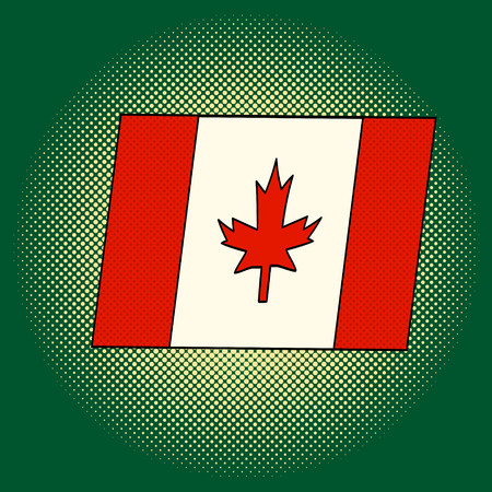 Flag of Canada pop art vector. Beautiful adult flag looking at us, illustration isolated on white