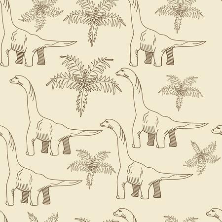 brontosaurus: Brontosaurus seamless retro predator vector illustration. Black and white lines