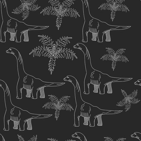 brontosaurus: Brontosaurus seamless chalk predator vector illustration. Black and white lines