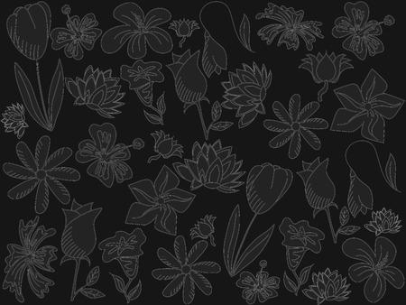 chalk line: Flowers chalk line art design vector illustration. Separate objects. Hand drawn doodle design elements. Illustration