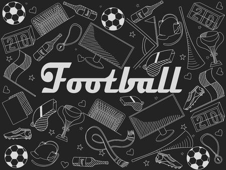 chalk line: Football chalk line art design vector illustration. Separate objects. Hand drawn doodle design elements.