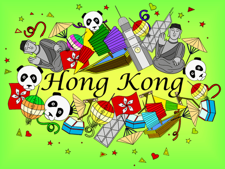 Hong Kong line art design vector illustration. Separate objects. Hand drawn doodle design elements. Illustration