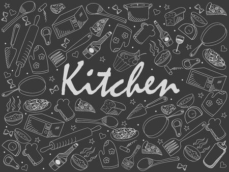 Cuisine craie design vector art illustration ligne. Séparer les objets. Hand drawn éléments de conception de griffonnage.