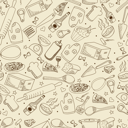 kitchen range: Kitchen seamless retro line art design vector illustration. Separate objects. Hand drawn doodle design elements.