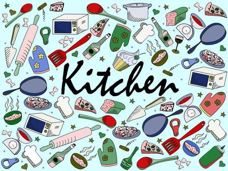 Küchenzeile Kunst-Design Vektor-Illustration. Separate Objekte. Hand gezeichnet Doodle Design-Elemente.