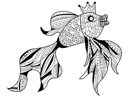 Goudvis zee dier kleurboek voor volwassenen vectorillustratie. Anti-stresskleuring voor volwassenen. Zwarte en witte lijnen. Kantpatroon Stock Illustratie