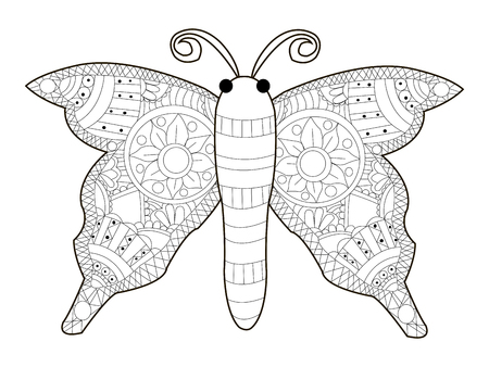 Butterfly Coloring Book For Adults Vector Illustration Anti Stress Adult Black