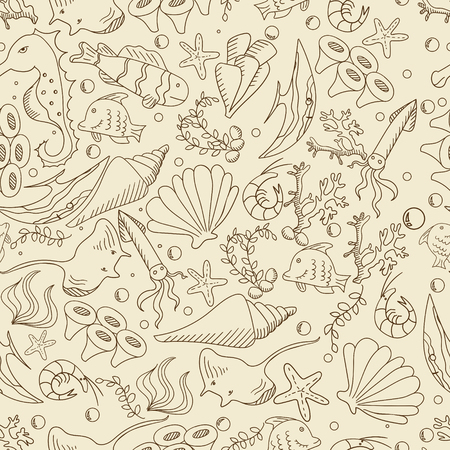 bubble sea anemone: Life under water seamless retro line art design vector. Sea bottom separate objects. Hand drawn doodle design elements.