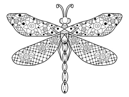dragonflies: Dragonfly coloring book for adults vector illustration. Anti-stress coloring for adult.  Black and white lines. Lace pattern Illustration