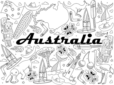 populated: Vector line art Doodle set of cartoon characters and objects on Australia. Coloring Book Illustration