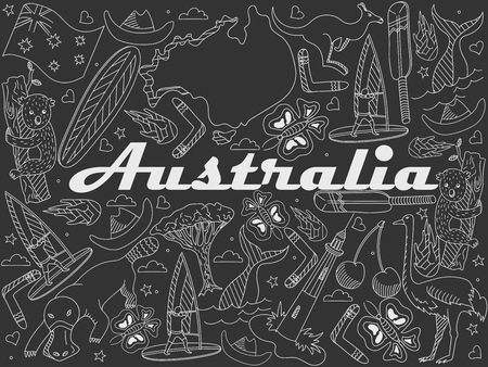 populated: Vector line art Doodle set of cartoon characters and objects on Australia. Chalk
