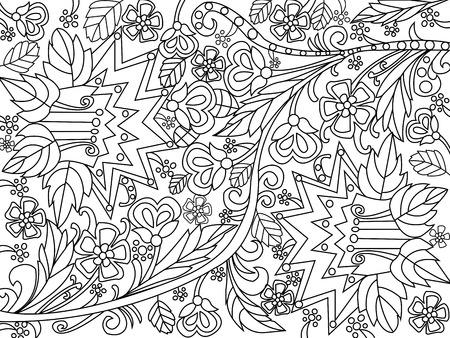 Flowers coloring book for adults vector illustration. Anti-stress coloring for adult.  Black and white lines. Lace pattern