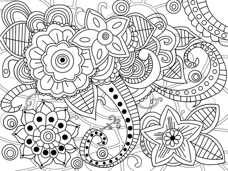 Mandala coloring book for adults vector illustration. Anti-stress coloring for adult. Illustration