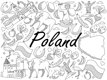 krakow sausage: Vector line art Doodle set of cartoon characters and objects on Poland. Coloring Book