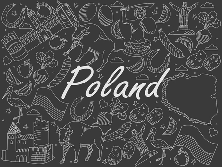 krakow sausage: Vector line art Doodle set of cartoon characters and objects on Poland. Chalk
