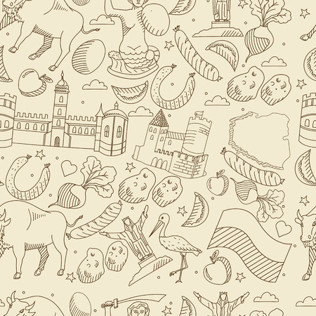 krakow sausage: Vector line art Doodle set of cartoon characters and objects on Poland. Seamless retro