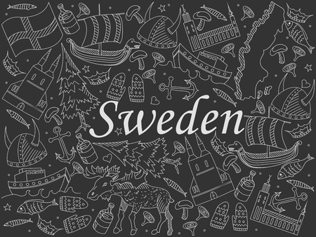 souvenir: Vector line art Doodle set of cartoon characters and objects on Sweden. Chalk Illustration