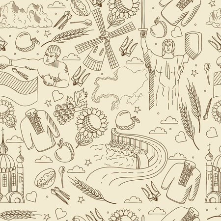 mountain cranberry: Vector line art Doodle set of cartoon characters and objects on Ukraine. Seamless retro