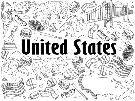 george washington: Vector line art Doodle set of cartoon characters and objects on United States. Coloring Book Illustration