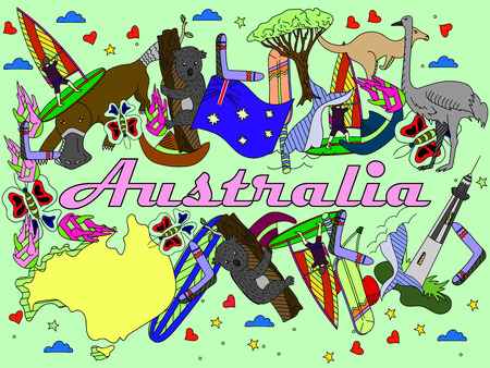 populated: Vector line art Doodle set of cartoon characters and objects on Australia.