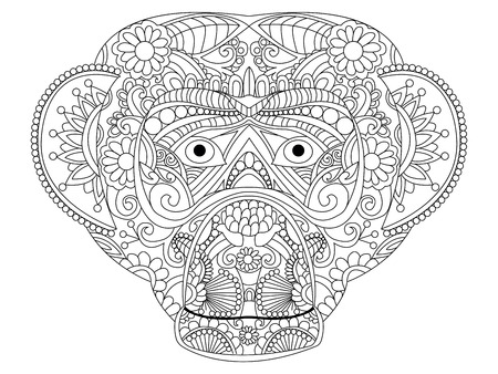 Monkey coloring book for adults vector illustration. Anti-stress coloring for adult. Zentangle style. Black and white lines. Lace pattern