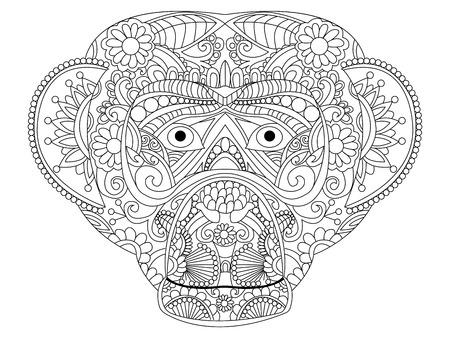 Scimmia libro da colorare per l'illustrazione vettoriale adulti. Antistress colorare per adulti. stile Zentangle. linee bianche e nere. modello in pizzo Archivio Fotografico - 56918691