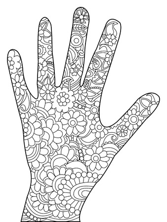 pinky: Palm coloring book for adults vector illustration. Hand anti-stress coloring for adult. Zentangle style. Black and white lines. Lace pattern
