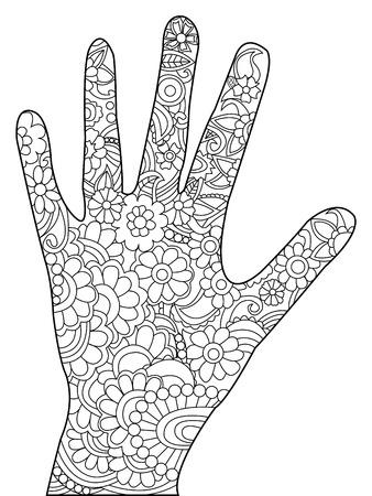 Palm kleurboek voor volwassenen vector illustratie. Hand anti-stress kleuring voor volwassen. Zentanglestijl. Zwart en witte lijnen. kantpatroon Stock Illustratie