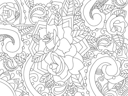 sharp curve: Mandala coloring book for adults vector illustration. Anti-stress coloring for adult. Zentangle style. Black and white lines. Lace pattern Illustration